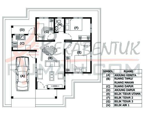 Pelan Rumah Idaman 1 Tingkat Bermanfaat Design Rumah B1 28 3 Bilik 1 Bilik Air 32 X 33 907 Kaki