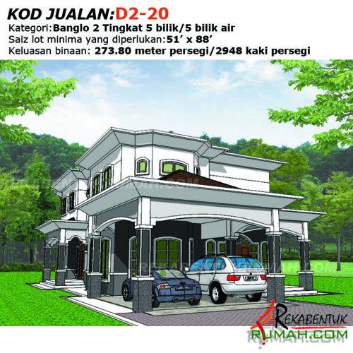 Pelan Rumah Idaman 1 Tingkat Bermanfaat Design Rumah D2 20 5 Bilik 5 Bilik Air 33 X67 2948 Kaki