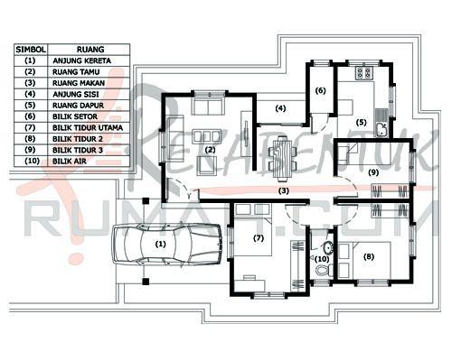 Pelan Rumah Idaman 1 Tingkat Bernilai Design Rumah A1 04 3 Bilik 1 Bilik Air 30 X34 840 Kaki Persegi