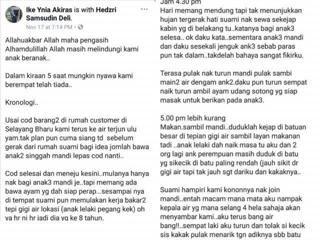 Menerusi perkongsian puan Ike Ynia Akiras di FB kejadian hampir ditimpa kepala air sewaktu mandi manda di air terjun Ulu Yam Selangor