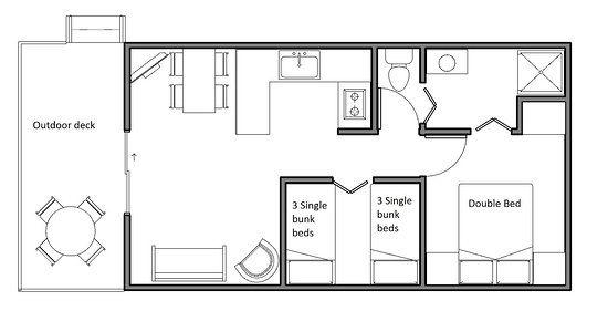Khancoban Lakeside Caravan Park Cabin A & B floor plan