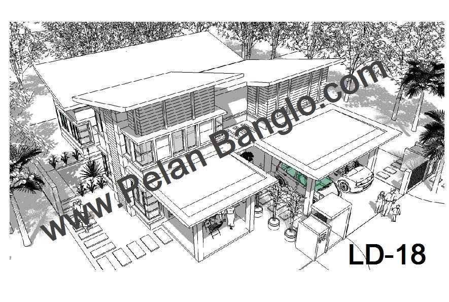 Pelan Rumah Kampong Berguna Pelan Rumah Banglo Ld18 Konsep Moden Tropika