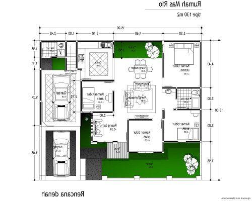Gambar Denah Rumah Minimalis 1 Lantai Dengan 3 Kamar Tidur Sederhana