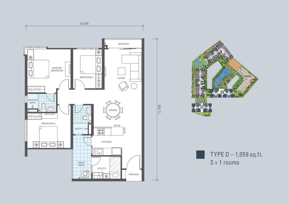 KL Traders Square Type D Floor Plan