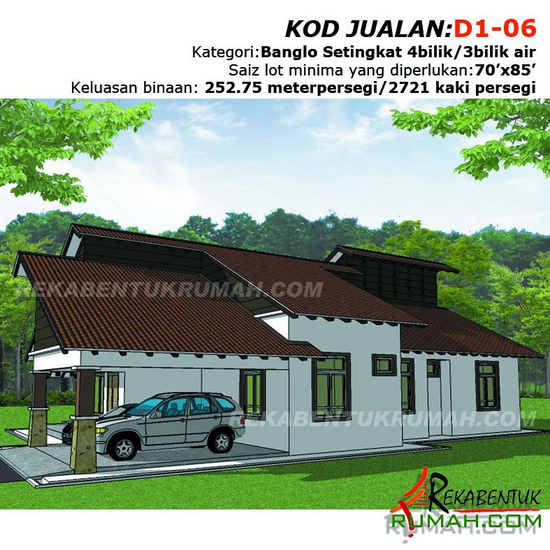 Pelan Rumah Kampung 3 Bilik Penting Design Rumah D106 4b 3ba 49 X64 2721 Kaki Persegi Rekabentuk