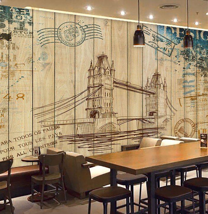Pelan Rumah Kayu Modern Terhebat ≧kustom Foto Wallpaper 3d Retro Kayu Dinding Lukisan Graffiti toko