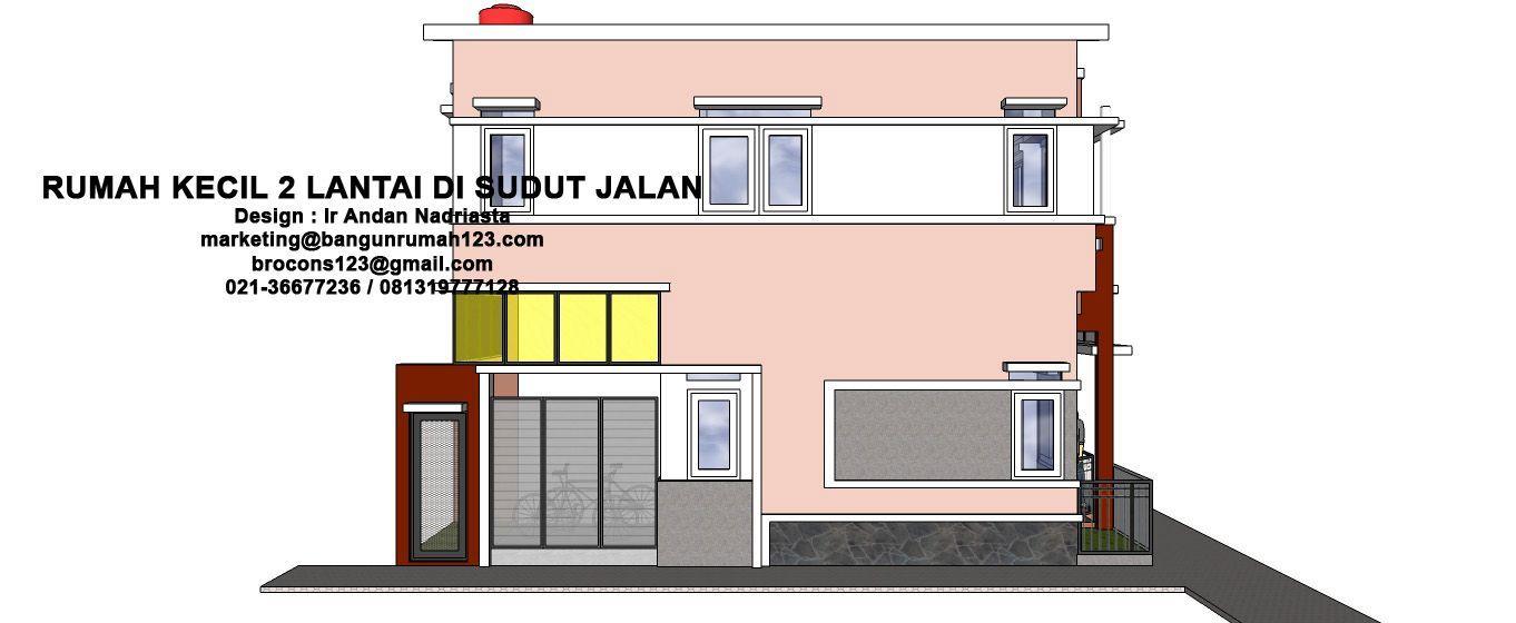 Pelan Rumah Kecil Bernilai Konsultasi Arsitektur Rumah Kecil 2 Lantai Di Sudut Jalan Eramuslim