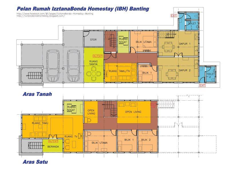 Pelan Rumah Kedai 2 Tingkat Berguna Izztanabonda Homestay Banting Pelan Lantai