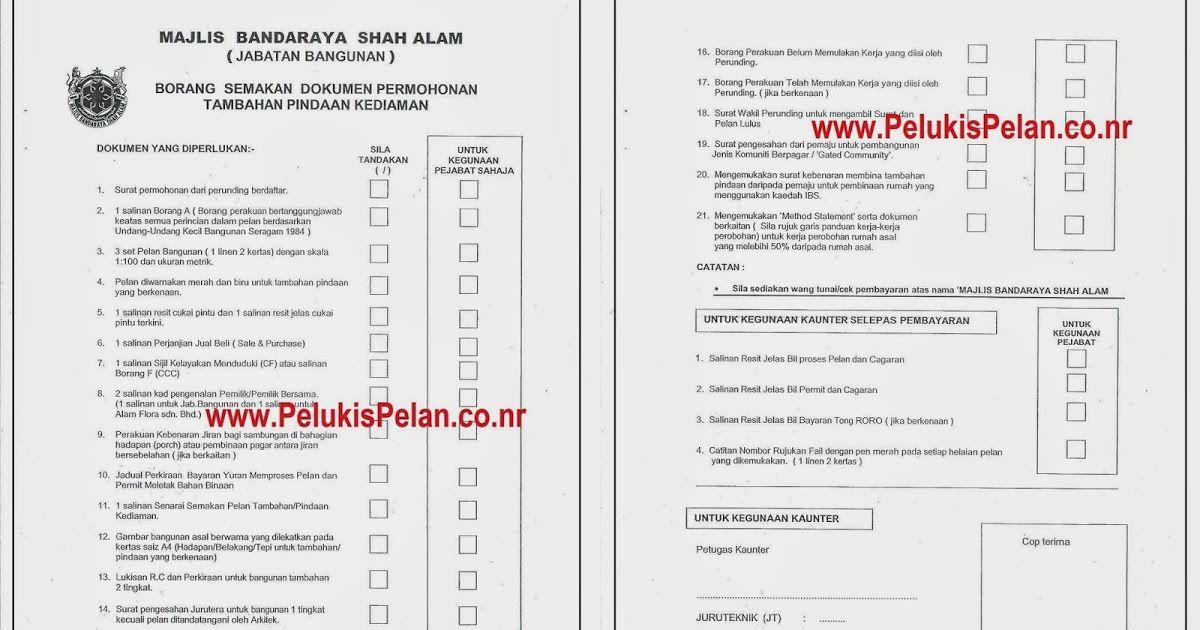 PANDUAN & TIPS UBAHSUAI RUMAH Borang Permohonan Ubahsuai Rumah MBSA Shah Alam