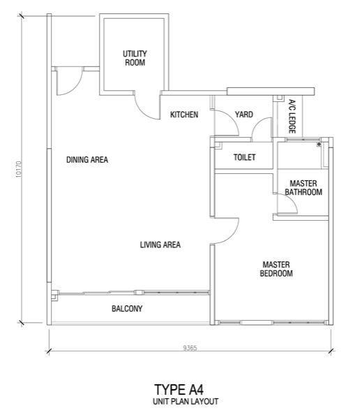 Bigger balcony usefull utility room