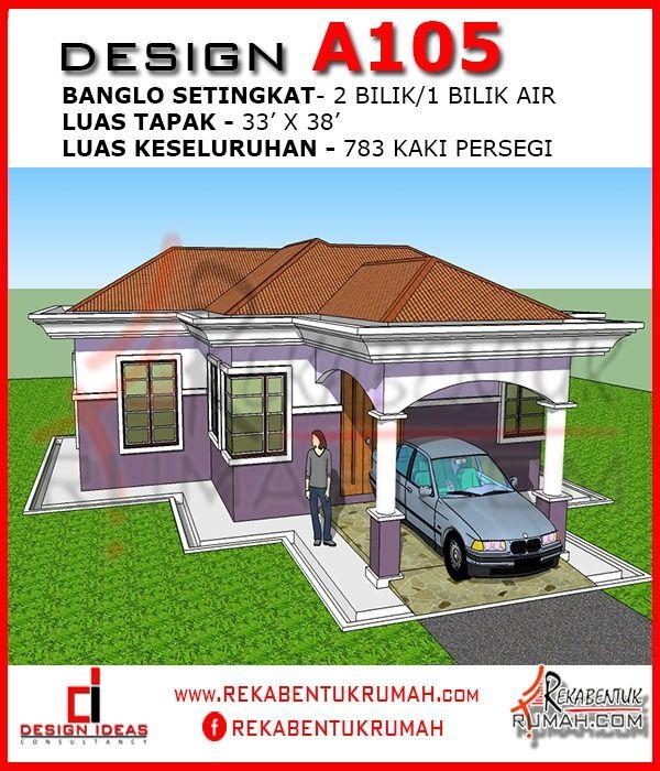 Pelan Rumah Moden Kontemporari Terbaik Design Rumah A1 05 2 Bilik 1 Bilik Air 33 X38 783 Kaki Persegi