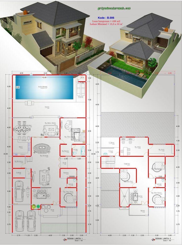 Pelan Rumah Moden Setingkat Menarik Gambar Denah Rumah 2 Lantai 5 Kamar Tidur Kolam Renang