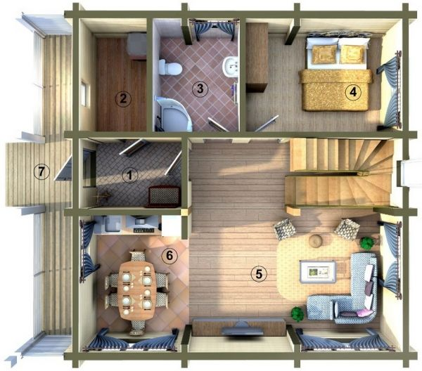Projek dua tingkat 6x6 m Pelan lantai dasar 1 ruang masuk 2 blok 3 bilik mandi 4 bilik tidur nurseri belajar 5 ruang tamu
