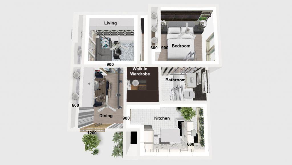 Pelan lantai Khalil di atas menunjukkan ruang kosong untuk almari dengan ketinggian penuh dari ruang tamu ke ruang makan 600mm pelepasan pintu yang