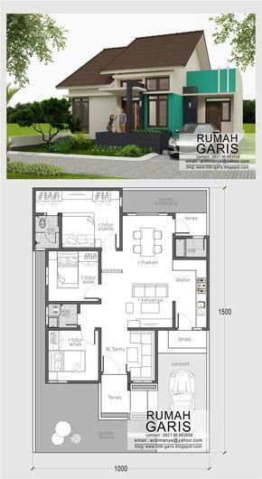 denah dan tampak sederhana minimalis tipe 90 m2 di lahan 10x15…