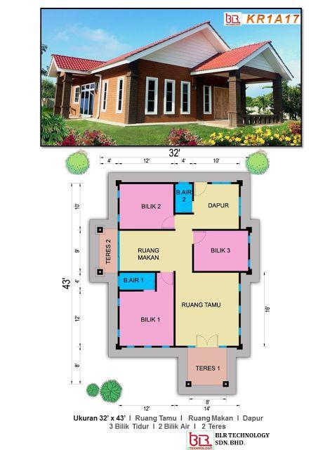 Pelan Rumah Sederhana Terhebat Pelan Banglo Tulip 3 Bilik 2 Bilik Air Pelan Rumah Ibs