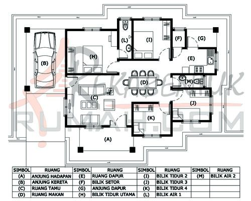 DESIGN RUMAH B1 25 4 bilik 2 bilik air – 48 kaki x 33 kaki – 1163 kaki persegi