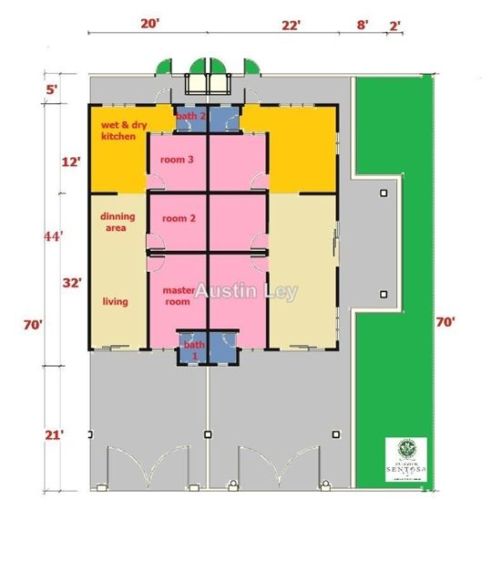 Pelan Rumah Setingkat 3 Bilik Power Pengkalan Station18