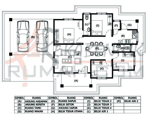 DESIGN RUMAH B1 26 4 bilik 2 bilik air – 57′ x 33′ – 1318 kaki persegi