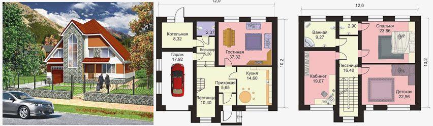 Rumah ini direka untuk sebilangan besar penduduk ia mempunyai empat bilik tidur tata letak itu sedemikian rupa sehingga 3 daripadanya terletak di