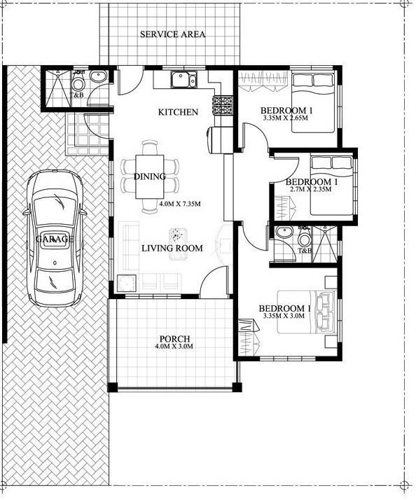 Small house floor plan – 3 bedroom single attached Built in a 200 sq m lot and having a 13 meter frontage with this house can conveniently stand