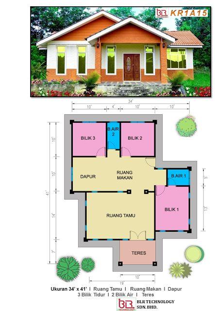 3 bilik kamar 2 bilik air Cottage Plan Ibs