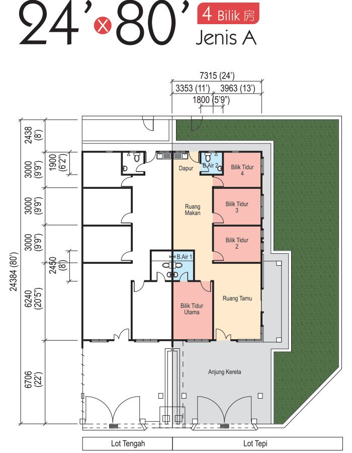 Diy Pelbagai Ilham Pelan Rumah Teres 4 Bilik Deko Rumah