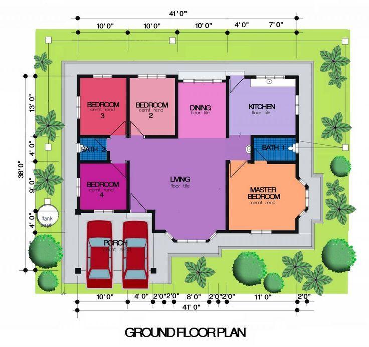 Pelan Rumah Teres Dua Tingkat Bermanfaat Pelan Kampung 4 Bilik Design In 2018