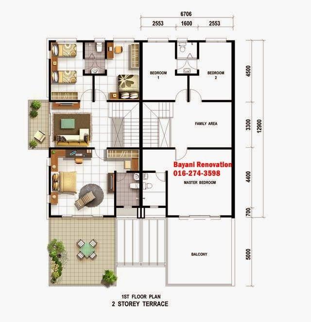 Pelan Rumah Teres Setingkat Sample Plan Modern