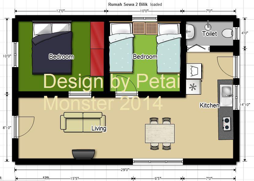 Pelan Rumah Unik Terbaik Floor Plan Rumah Sewa 2 Bilik 525 Sq Ft
