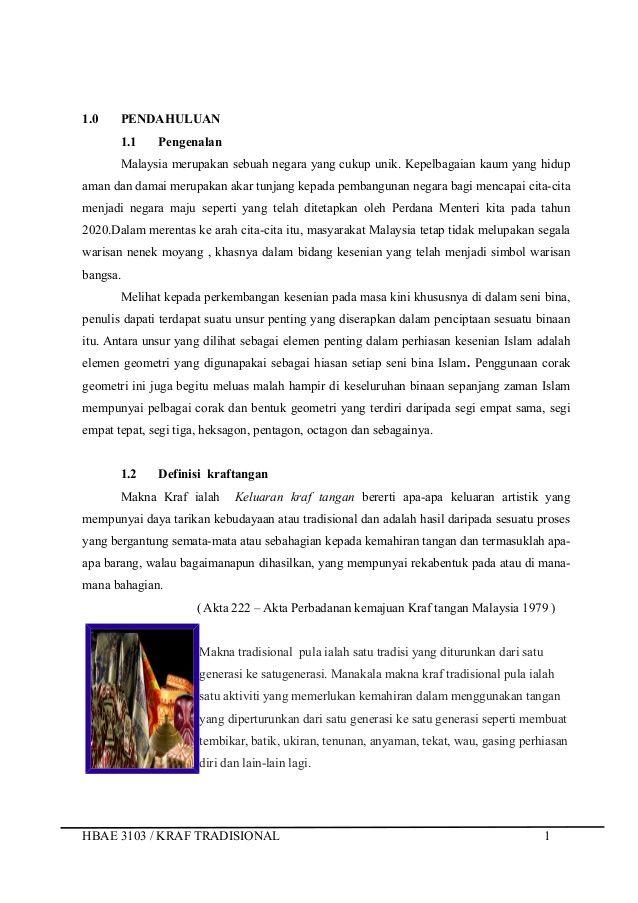 Reka Bentuk Hiasan Dalaman Tradisional Terbaik Hbae 3103 assignment Kraf Tradisional