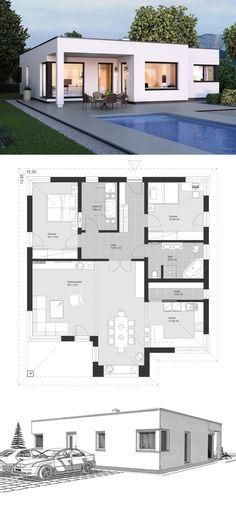 Bauhaus Bungalow modern mit Flachdach Architektur & 3 Zimmer Grundriss Einfamilienhaus ebenerdig bauen Ideen ELK Bungalow 125 von ELK Fertighaus