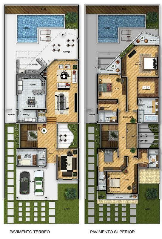 Rekabentuk Pelan Rumah Hebat Plantas De sobrados 4 Quartos Grátis Seni Bina