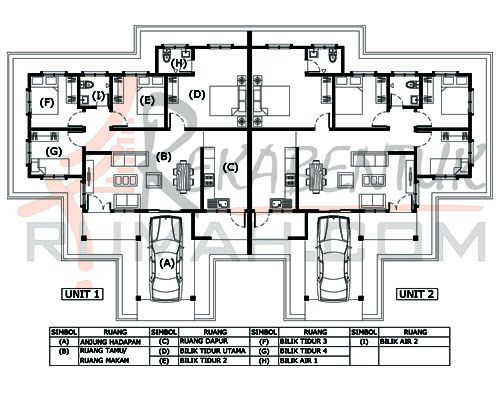 Skala Pelan Rumah Menarik Rumah Semi D B1a 11 4b 2ba 80 X45 1238 Kaki Persegi
