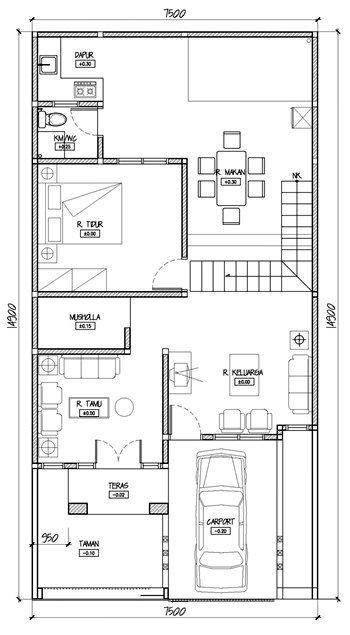Ukuran Pelan Lantai Rumah Bermanfaat Denah Minimalis Memanjang 6 Desain Rumah Minimalis