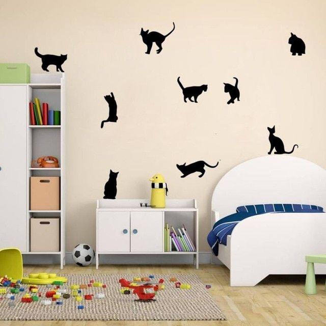 Kucing Wall Stiker Art Decals Mural Wallpaper Dekorasi Rumah Kamar DIY Dekorasi Cat wallpaper PVC Foto