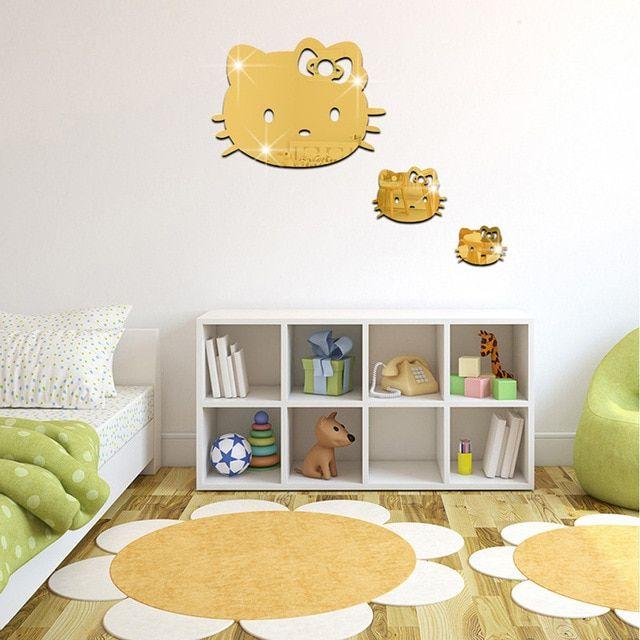 3 pcs Set Kartun Hello kitty Acrylic Cermin stiker Anak anak kamar Latar Belakang