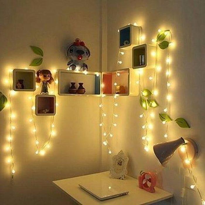 AKSESORIS LAMPU HIAS kamar tidur Lampu Led Dekorasi Kamar Warm White Lampu Tidur Hias Tumblr Light