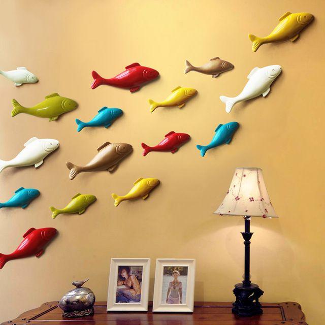Dekorasi Hiasan Dalaman Terbaik Ruang Tamu Mewah Bernilai Colorful Resin Tiga Dimensi Ikan Liontin Creative Diy Rumah