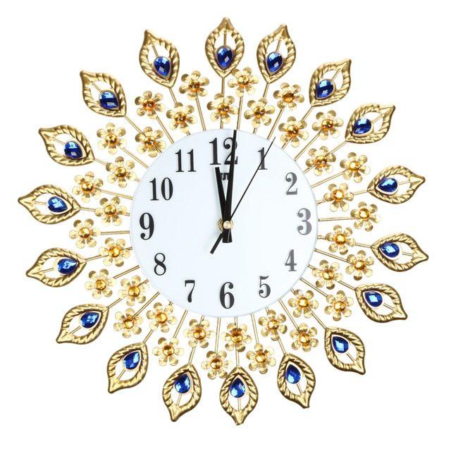Besar jam Dinding Merak Mewah Berlian Logam Kristal Digital Jarum Jam untuk Ruang Tamu Rumah Dekorasi