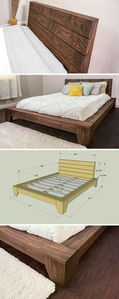 Cama de madera $ 380 Pelan Binaan Bangunan Berasaskan Kayu Idea Hiasan Rumah Hiasan
