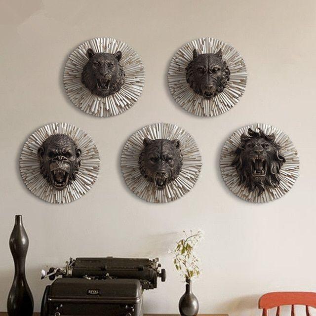 Dekorasi Hiasan Dalaman Terbaik Rumah Moden Hebat Hewan Marah Kepala Kreatif Resin Hewan Kepala Dinding Dekorasi