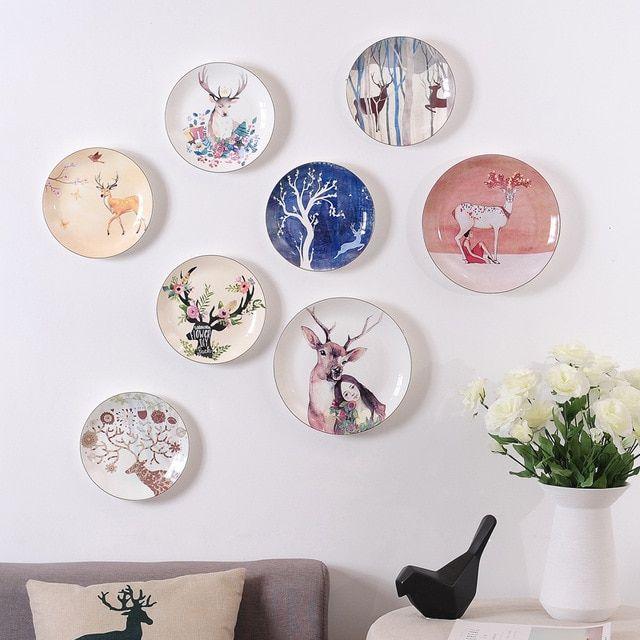 Dekorasi Hiasan Dalaman Terbaik Rumah Sempit Menarik Ins Kreatif Hidangan Piring Keramik Hiasan Dinding Dekoratif Rusa