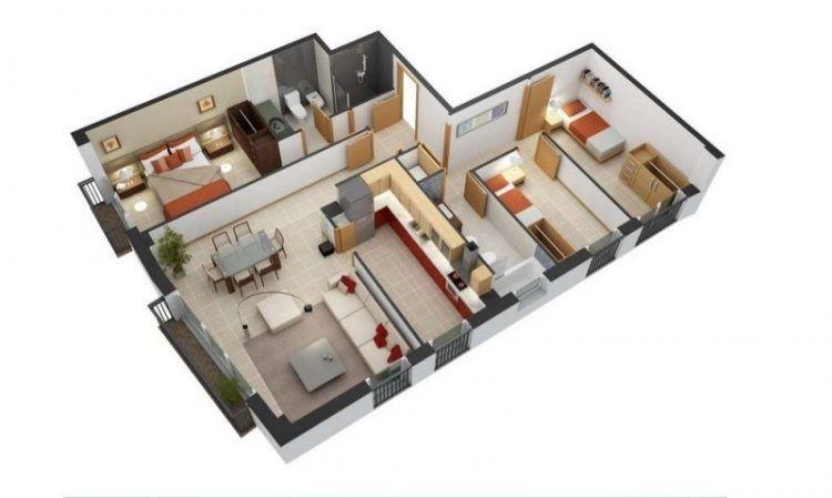 Susun atur Menarik Warna Cat Rumah Baik √ 30 Denah Rumah Minimalis 3 Kamar Tidur Desain 1 Lantai