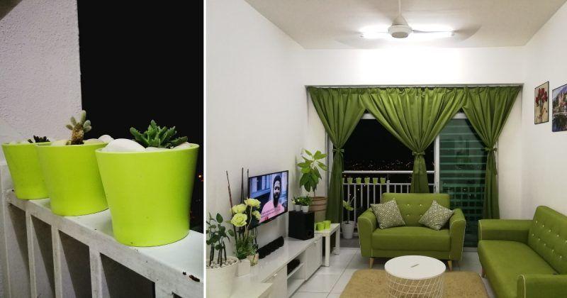 Susun atur Ruang Tamu Rumah Flat Power Dekor Modal Rendah Dan Sederhana Dalam Rumah Dengan tona Hijau Putih