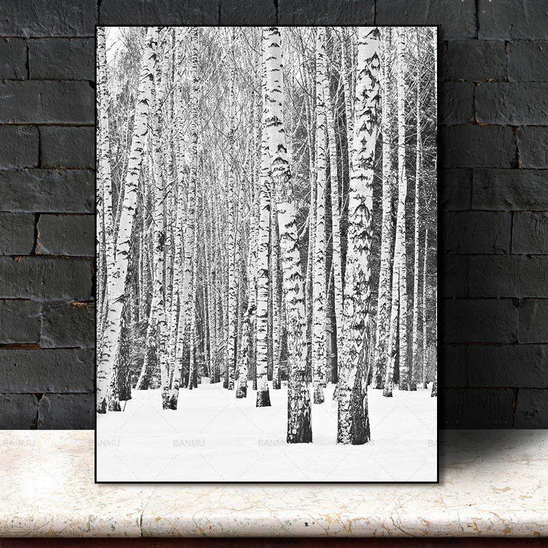 Nordic Poster Kanvas Lukisan Dekorasi Rumah Seni Tinggi Pohon Hutan Alam Dinding Gambar Ruang Tamu Seni Dekorasi Gambar di Painting & Calligraphy dari Rumah