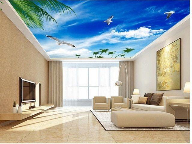 Cara Untuk Deko Dapur Rumah Flat Terbaik Langit Biru Desain Ceiling Seagull 3d Mural Wallpaper Untuk Ruang