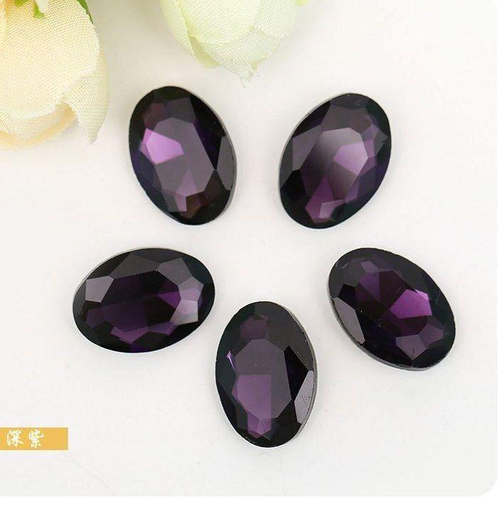 Deep purple oval berbentuk Menunjuk berlian imitasi kristal bawah berlaku untuk Pakaian Dekorasi DIY gaun Pengantin perhiasan dan Menonton 20 pcs