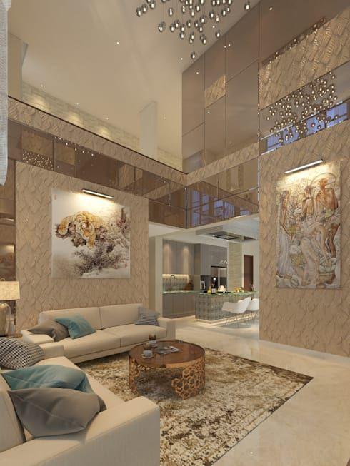Rumah mewah NAVAPARK BSD CITY TANGERANG Ruang Keluarga by PT Dekorasi