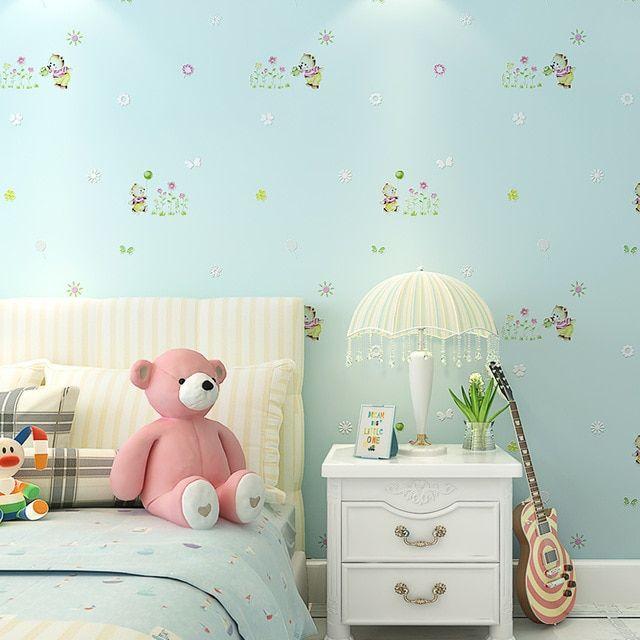 Lucu Kartun Beruang Merah Muda Kertas Dinding Dekorasi Rumah untuk Anak Perempuan Kamar Tidur Beige Biru